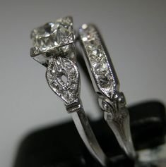 Vintage Wedding Rings 1920 | antique diamond engagement wedding ring white yellow gold platinum 18k ...