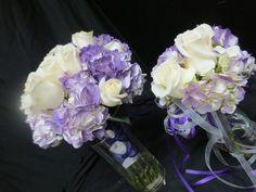 sep 15th 2012. white roses and purple hydrangeas