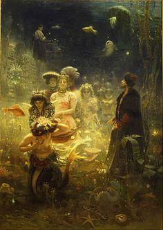 Muitas gerações de artistas eslavos foram inspirados pelo seu folclore nacional. Acima, é ilustrado por Iliá Iefímovich Repin Sadko(1876).