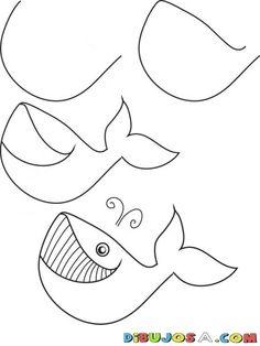 Como dibujar paso a paso una ballena