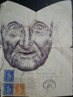 Biro on envelope by mark powell bic biro drawings, via Flickr