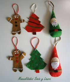 Adornos navideños: Galleta de Genjibre, Árbol de Navidad y Papá Noel.
