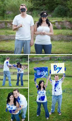 Gender Reveal- the technican fills the containers with either pink or blue, then the couple squirts each other while a friend takes pictures, then the couple finds out together afterwards! DEFINITELY doing this the next time I'm pregnant! Gender Reveal Pictures, Gender Reveal Box, Pregnancy Gender Reveal, Unique Gender Reveal Ideas, Gender Reveal With Sibling, Baby Reveal Ideas, Pregnancy Photos, Gender Party, Baby Gender Reveal Party