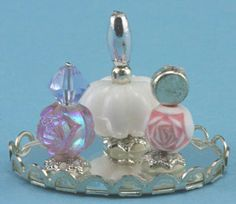 Large Perfume Tray with 3 Bottles - This miniature dollhouse perfume tray by Chrysnbon is 1:12 scale.