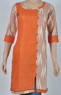 Cotton orange, Ikkat brown Kurta with offset split