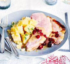 Candied roast ham w cranberry & star anise sauce