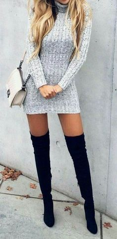 #winter #outfits gray crochet close-neck with long-sleeve sweater with black knee-high boots