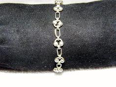 Sterling Silver Circle Link Beaded Bracelet HA11