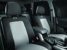 Mazda Tribute Seat Covers for the front bucket seats and back bench seat.  Black and Grey