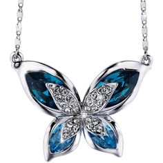 "SIVERY Ocean Blue ""Butterfly"" Women Pendant Necklace, Made with... ($29) ❤ liked on Polyvore featuring jewelry, necklaces, swarovski crystals jewelry, swarovski crystal pendant, swarovski crystal jewelry, swarovski crystal necklace and swarovski crystal jewellery"