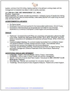Best Resume Format For Freshers Engineers Niveresume Pinterest
