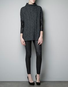 8e285568 SWEATER WITH FAUX LEATHER SLEEVES Zara Israel, Cable Knit Sweaters, Pullover  Sweaters, Spanish