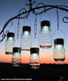 outdoor lighting with solar powered lids for mason jars.