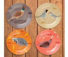 Game Birdy Set of 4 Plates http://www.flamingogifts.co.uk/products/game-birdy-set-of-4-plates