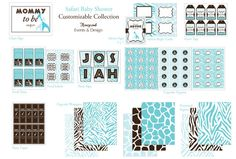 Safari Baby Shower Printable Collection by HoneycombEvents on Etsy, $35.00