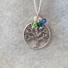 Tree of Life Necklace, Family Tree Pendant, Birthstone Necklace, Personalized Jewelry, Tree Necklace