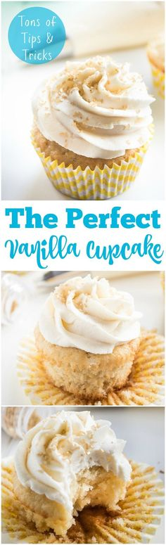 The perfect vanilla cupcake. An EASY friendly from scratch recipe! Light, fluffy, and loaded with vanilla flavor! Plus tons of tips and tricks on HOW to make the perfect cupcake that will work on AN (Creative Baking Cupcakes) Mini Desserts, No Bake Desserts, Just Desserts, Delicious Desserts, Dessert Recipes, Yummy Food, Cupcake Recipes Easy, Cupcake Recipes From Scratch, Vanilla Cupcake Recipes
