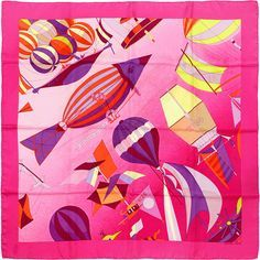 Pre-Owned Hermes Paris Folies du Ciel II 90cm Silk Scarf Carre by Loic... ($275) ❤ liked on Polyvore featuring accessories, scarves, pink, multi colored scarves, hermes scarves, pure silk scarves, hermès and hermes shawl