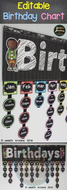 Birthday Chart: Never forget a birthday with this chalkboard themed chart. The header measures 30 inches and the labels are 2 inches wide. If you think it is too big, you may adjust the print percentage to or lower when you print ALL of the pieces. New Classroom, Classroom Setting, Classroom Setup, Classroom Design, Classroom Displays, Preschool Classroom, In Kindergarten, Classroom Birthday Board, Preschool Birthday Board