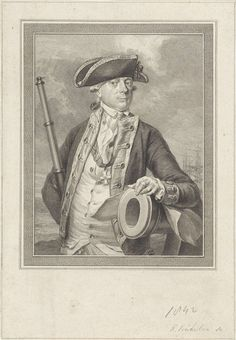 Reinier Vinkeles | Portret van Jan Hendrik van Kinsbergen, Reinier Vinkeles, Hendrik Pothoven, 1781 | Portret van de Nederlandse admiraal Jan Hendrik van Kinsbergen, met een verrekijker en zijn arm rustend op een kanon.