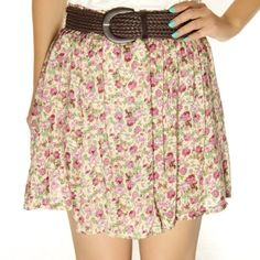 Floral Flower Print Elastic Short Skirt Beige Pink $23.99 FREE SHIPPING!!! | Asiaphilic.com
