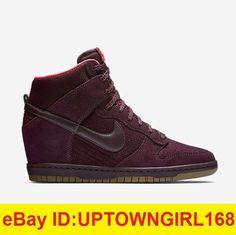 9470b076ac2 NIKE Dunk Sky Hi Top Essential Wedge Burgundy 644877 Women Shoes Sneakers  New. SapatilhasTênis ...