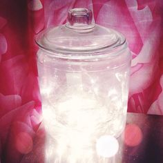 The best light for writing: fairy lights in a jar.