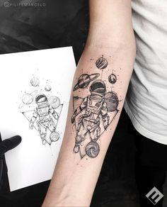 Astronaut Tattoo, Alien Tattoo, Forarm Tattoos, Cool Forearm Tattoos, Body Art Tattoos, Cool Tattoos, Tatoos, Wrist Tattoos For Guys, Small Tattoos For Guys
