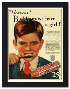 AP-FRAME-1971H - Colgate Toothpaste Advert 1932 - Framed Print 32x42cm Black