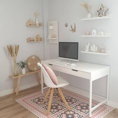 Every Monday around here we start with a home office inspiration. office ideas for two Bedroom Decor For Teen Girls, Room Ideas Bedroom, Teen Room Decor, Small Room Bedroom, Teen Rooms Girls, Teen Bedroom Decorations, Small Bedroom Decor On A Budget, White Desk Bedroom, Ikea Girls Bedroom