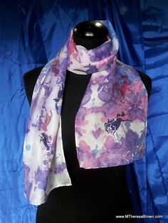 Silk Scarf exclusive Gorgeous shades of blues and purples with tiny hand drawn horses by me at onroadartists, $95.00