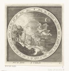 Nicolaes de Bruyn | Vierde dag van schepping: God schept de zon, maan en sterren, Nicolaes de Bruyn, 1581 - 1656 | Vierde dag van schepping: God schept de zon, maan en sterren en scheidt zo het licht van de duisternis. In medaillon met als opschrift een bijbeltekst in Latijn uit Genesis 1, binnen rechthoekige omlijsting.