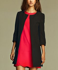 Work-Jacket with sleeveless sheath dress and slacks Love this Black Three-Quarter-Sleeve Jacket on #zulily! #zulilyfinds