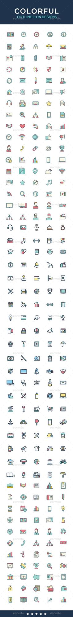 Icon set, Colorful icon designs, outline icons  — PSD Template #money icons #app • Download ➝ https://graphicriver.net/item/icon-set-colorful-icon-designs-outline-icons/18184768?ref=pxcr