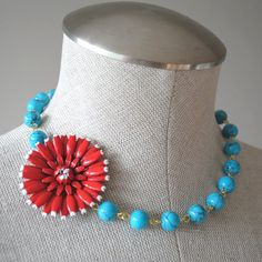 Vintage Cherry Red and White Enamel Flower by vintageincolor, $48.00