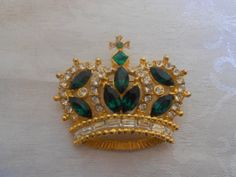 Gorgeous Emerald Green Crystal Crown Brooch by OnTheMarkVintage, $29.00 Great For St. Patrick's Day!