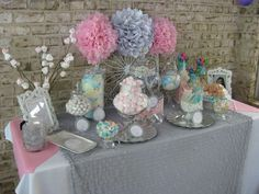 Silver, white and pale pink First Communion Party Ideas | Photo 8 of 17 | Catch My Party