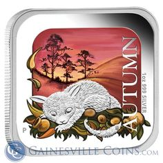 2013 Australia Seasons 1 oz Proof Silver Square Coin   Autumn http://www.gainesvillecoins.com/
