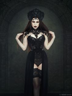 Model/MUA/Photo: Threnody In Velvet  Headdress and collar: Videnoir  Corset:Neon Duchess  Welcome to Gothic and Amazing | www.gothicandamazing.com