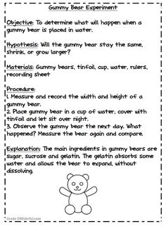 Grade ONEderful: directions for experiment about growing gummy bears