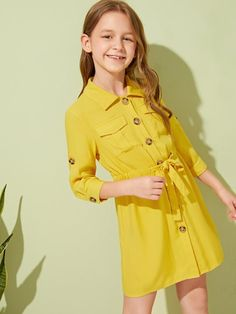 Girls Flap Pocket Knot Waist Buttoned Shirt Dress | SHEIN