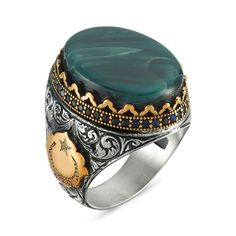 Jade Natural Gemstone Arabic Writen Monogram Free Express Shipping İslamic Ring Falcon Jewelry 925 Sterling Silver Mens Ring