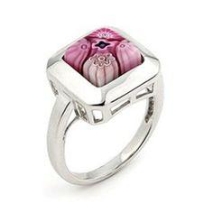 Murano Glass Millefiori Pink Square Sterling Silver Ring