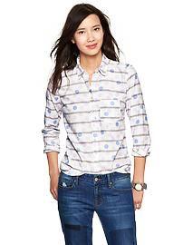 Dots & stripes shrunken boyfriend oxford shirt
