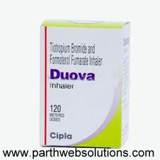 Duova inhaler is a combination treatment used for the long-term maintenance treatment of chronic obstructive pulmonary disease (COPD), which is a progressive obstructive airways disease that usually gets worse with time. The symptoms of COPD are caused by bronchospasm and are similar to asthma, including tightness of the chest, wheezing and shortness of breath, as well as chronic cough with sputum production because the lung tissues have become damaged.