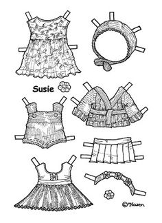 Karen`s Paper Dolls: Susie 1-5 Paper Doll to Print and Colour. Susie 1-5…