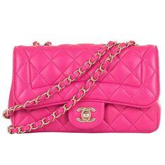 Pristine Chanel Lipstick Pink 'Chic Quilt' Shoulder Bag with Satin Gold Hardware | See more vintage Structured Shoulder Bags at https://www.1stdibs.com/fashion/handbags-purses-bags/shoulder-bags/structured-shoulder-bags in 1stdibs