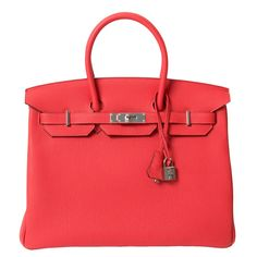 47a0dec652 View this item and discover similar top handle bags for sale at - Brand New  Hermès Rouge Pivoine Togo Leather 35 cm Birkin