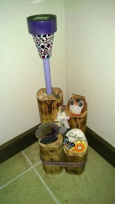 Owl and butterfly solar light display