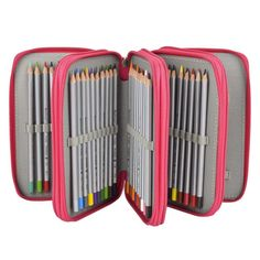 Newcomdigi 72 Inserting Super Large Capacity Multi-layer Students Pencil Case Pen Bag Pouch Stationery Case Makeup Cosmetic Case Bag (rose red) for sale Colored Pencil Case, Colored Pencils, Pencil Boxes, Pencil Pouch, Pencil Holder, Diy Back To School Supplies, Crayon Organization, Crayon Storage, Felt Purse